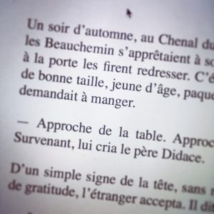 """Page du roman """"Le Survenant"""" (détail)"""